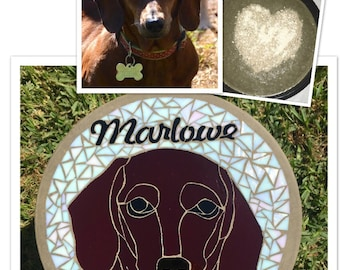 Pet Memorial with Ashes, Cremains inside, stained glass, custom pet, pet loss