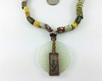 1800's Trade Beads with Jade and Bronze Focal necklace