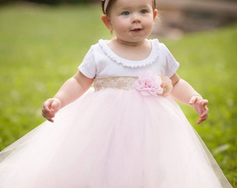 Burlap Lace Rose Pink Rustic Shabby Chic Flower Girl Wedding Birthday Tutu Dress Infant Toddlers Girls Tank Style Available