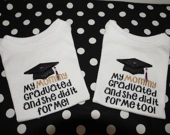 Graduation, Mommy, Daddy, college graduation, twins, graduation cap,  t shirt,  bodysuit, tshirt, baby clothes, shirt, school  graduation