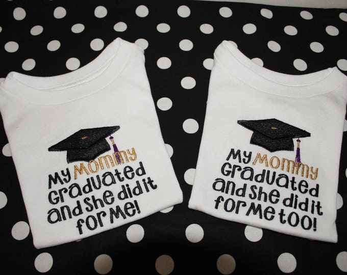 Featured listing image: Graduation, Mommy, Daddy, college graduation, twins, graduation cap,  t shirt,  bodysuit, tshirt, baby clothes, shirt, school  graduation