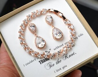Custom color -Personalized rose Gold Bridesmaid Gift Set Bridesmaid Earrings bracelet Bridesmaid Jewelry Bridal Jewelry Set Bridesmaid gifts