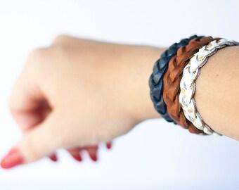 Braided Leather Bracelet Trio / The Original