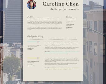 "Resume Template | CV Template + Cover Letter + Job Application Advice | MS Word | Resume Design / CV Design - Instant Download | ""Soho"""