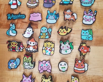 READY TO SHIP patches pokemon embroidered embroidery iron on patch sew on badge costume cosplay applique