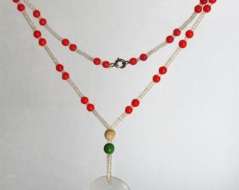 Antique Vintage Czech Glass Beads Intaglio Scorpio Pendant Necklace