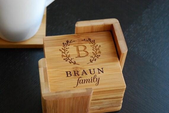 Personalized Coasters Wedding Gift: Personalized Coaster Set 6 Custom Engraved Bamboo Coasters