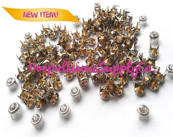 25pc 4mm Silver Prong Studs with Clear Silver Rhinestones. DIY Clothing. Shoes. Fast Shipping from USA w/Tracking for Domestic Orders.