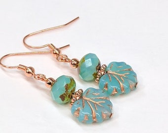 Turquoise and Copper Glass Bead Earrings, Maple Leaf Earrings, Czech Glass Bead Drop Earrings, Boho Chic Earrings, Nature Woodland Jewelry