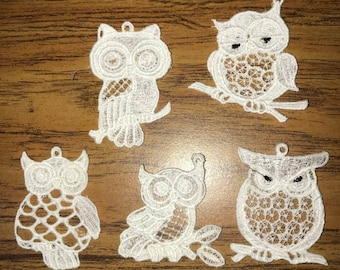 Embroidered Floating Lace Set of 5 Owls