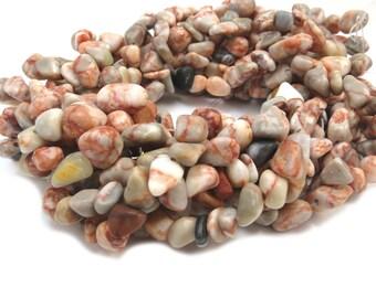 Redline Marble Pebbles, 15 inch Strand, Natural Redline Marble, Red/Orange and White Stone Beads, Item 462gs