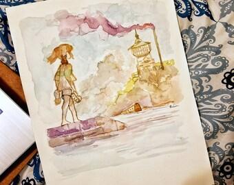 Chihiro, Painting Watercolor, Fabriano, Ghibli