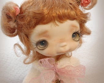 Bebe'Roses,Full set doll ,in her vintage handcrafted box, collectible BJD' resin OOAK, ball joint doll by Chrishanthi ''Ppinkydolls''