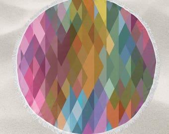 Rainbow Prism over-sized round beach towel