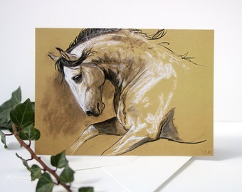 Horse pony card - horse art - horse painting - dressage - greetings card - birthday notecard - blank notecard - deisgned by artist