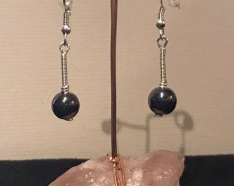 Hematite gemstone and silver earrings