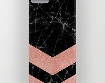 Black Marble with Rose Gold Pattern 2 on Phone Case -   iPhone 8, iPhone X, Marble, Black Marble, Rose Gold, Samsung Galaxy