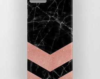Marbre noir avec Rose Gold 2 motif sur la housse de portable - iPhone 8, iPhone X, marbre, marbre noir, Rose Gold, Samsung Galaxy