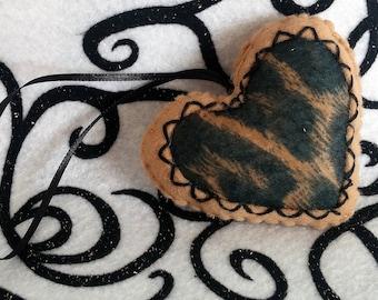 SALE! Tan and Black Leopard Print Felt Valentine's Day Heart Ornament