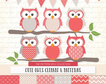 Patterned Coral Owls Clipart and Digital Papers - coral Owl Clipart, Owl Vectors, Baby Owls, Cute Owls
