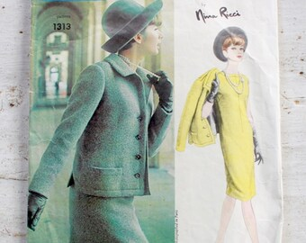 "Vogue Paris Original 1313 by Nina Ricci | 1960s Sewing Pattern | Dress Skirt & Jacket | Size 12 Bust 32"" Waist 25"""