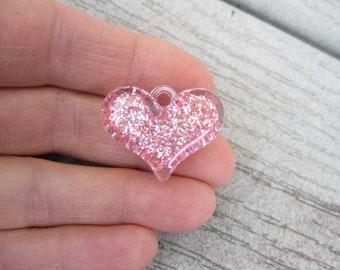 4 Pink Heart Pendants - C2705