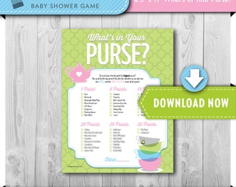 Digital INSTANT DOWNLOAD | Printable Baby Shower Game | What's in your Purse | Tea Party Theme | View our Shop for Games, Invites and Decor