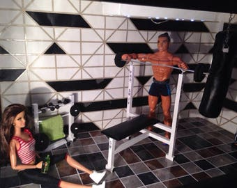 1/6 scale barbie doll size gym..weight bench,boxing bag... for ken doll..