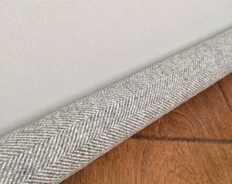 LIGHT gray wool draft snake / custom size draft stopper / washable gray herringbone door draft stopper