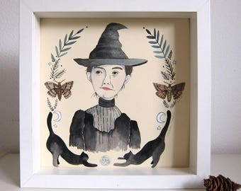 Art - Original Illustration - Witch Art - Witch Illustration - Drawing - Painting on Paper - Original Art - Original Painting - Little Witch