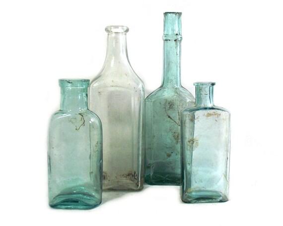 """8"""" Tall Antique & Vintage Set of Glass Bottles"""
