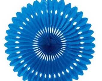 Paper fan Blue decorations //  Photo booth prop // children's party decor // Pinwheel // Wedding backdrop  / Pomwheel / Party Decoration