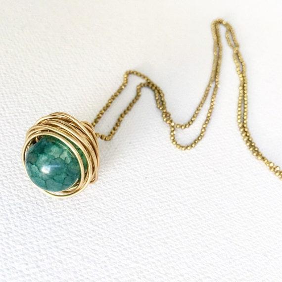 Bottle Green Agate & Gold Nest Ring