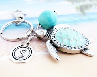 Sea Turtle Keychain, Turtle Keyring, Beach Keychain, Car Accessories, Cute Turtle Keychain, Initial Keyring, Personalized Gift, KY30