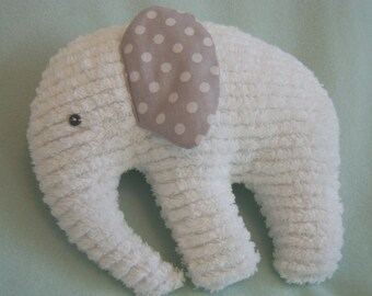 Stuffed Elephant, White Chenille body, ears are Grey with White Polka Dot Print