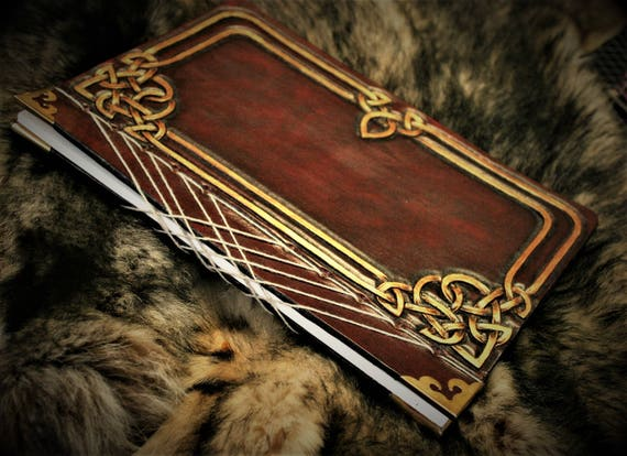 Leather guestbook, hardcover book,  fantasy grimoire, booknote, journal, japanese binding