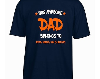 Personalised Dads tshirt Fathers day gift this dad belongs to personalised dads day