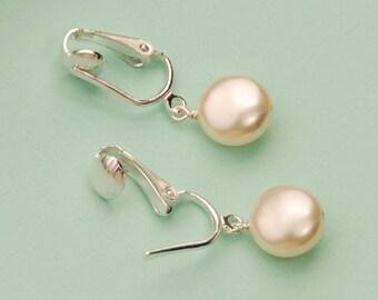 Clip sur boucle d'oreille perle, pièce Clipon perle, perle de pièce de monnaie Swarovski Ivoire en clips, boucles d'oreilles mariée, demoiselle d'honneur boucle d'oreille, boucle d'oreille pendantes