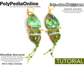 Polymer Clay Tutorial, Polymer Clay Jewelry, Macrame Tutorial, Macrame Pattern, DIY Jewelry, Macrame Jewelry, Earring Pattern, Fimo Jewelry