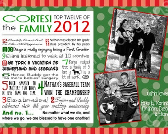 Top 10/ Year in Review/ Highlights Holiday Photo Card - Digital, Printable