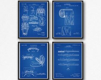 Bathroom Posters Set of 4 Bathroom Prints Bathroom Decor Bathroom Wall Art Bathroom Prints Bathroom Posters Art for Bathroom WB041