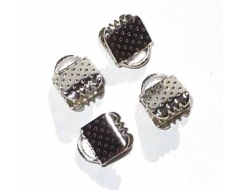 40 clasps clip claw silver 6 x 8 mm new
