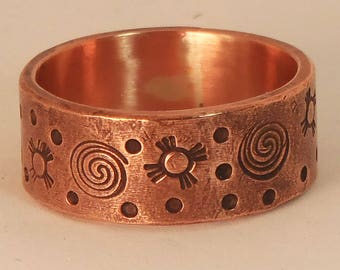 Stamped Copper Ring