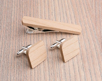 Wooden tie Clip Cufflinks Set Wedding Rounded Square Cufflinks. Wood Tie Clip Cufflinks Set. Boyfriend gift, Groomsmen set. Father day gift.