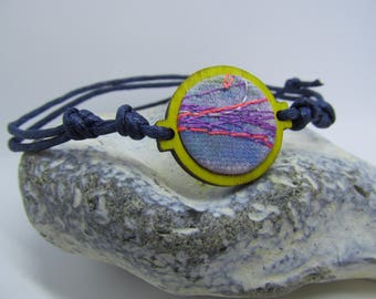 Blue & yellow embroidered bracelet