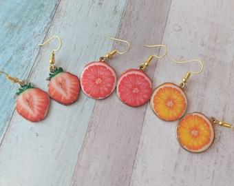 Fruit earrings, fruit jewelry, food earrings, food jewelry, charm earrings, novelty earrings, novelty jewelry, quirky earrings,