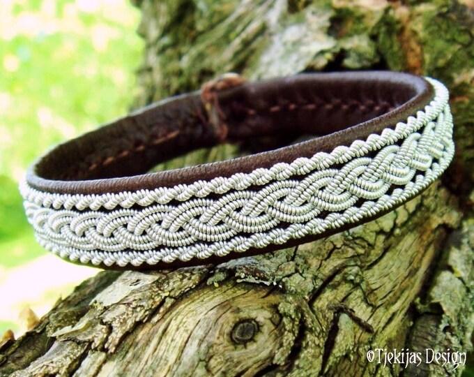 MJOLNIR Viking Bracelet. Unisex Sami Lapland Pewter Brown Leather Cuff. Custom Handmade Scandinavian Elegance