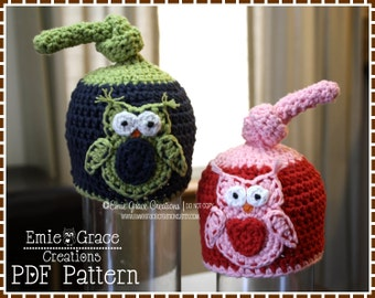 Crochet Top Knot Hat Pattern, Applique Beanie, OWL TOP KNOT - pdf 133