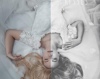 Butterfly Kisses - Vintage Romantic Black & White Portrait, Wedding, Retouching, Photoshop Action