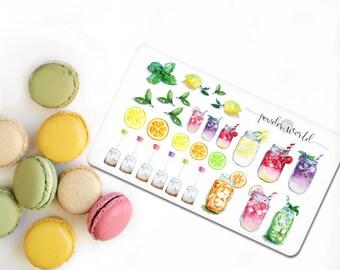 Sommer-Aufkleber Eis Tee Zitrone Limette Wassermelone Aufkleber
